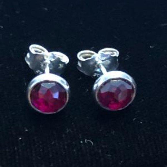 Pandora July Droplets Earrings, Synthetic Ruby
